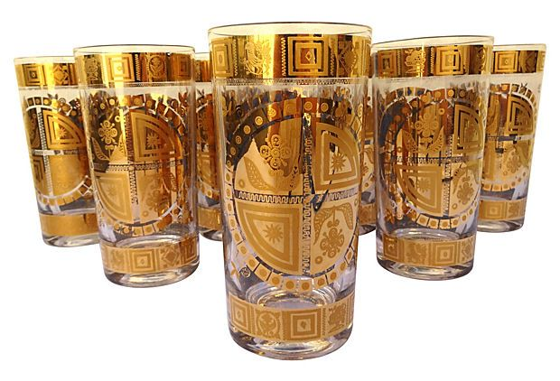 Gold Highball Glasses, S/8 on OneKingsLane.com