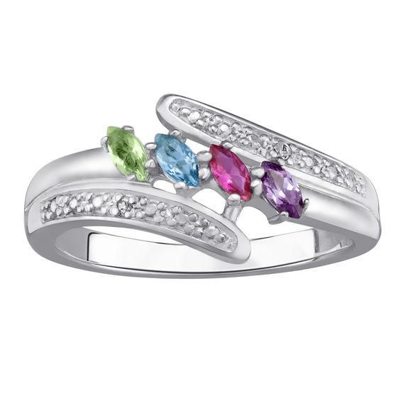 Wow Mom With This Sterling Silver Marquise Birthstone Diamond Accent Mothers Ring