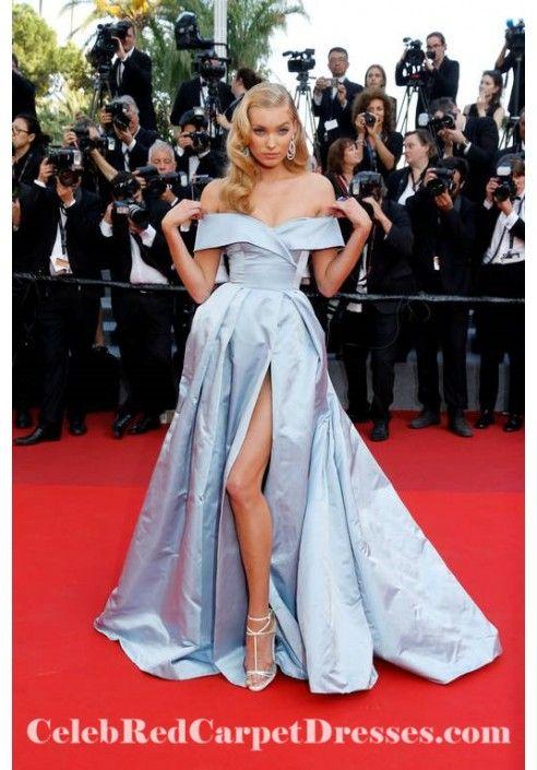 Elsa Hosk Cannes 2017 Blue Off-the-shoulder Evening Ball ...