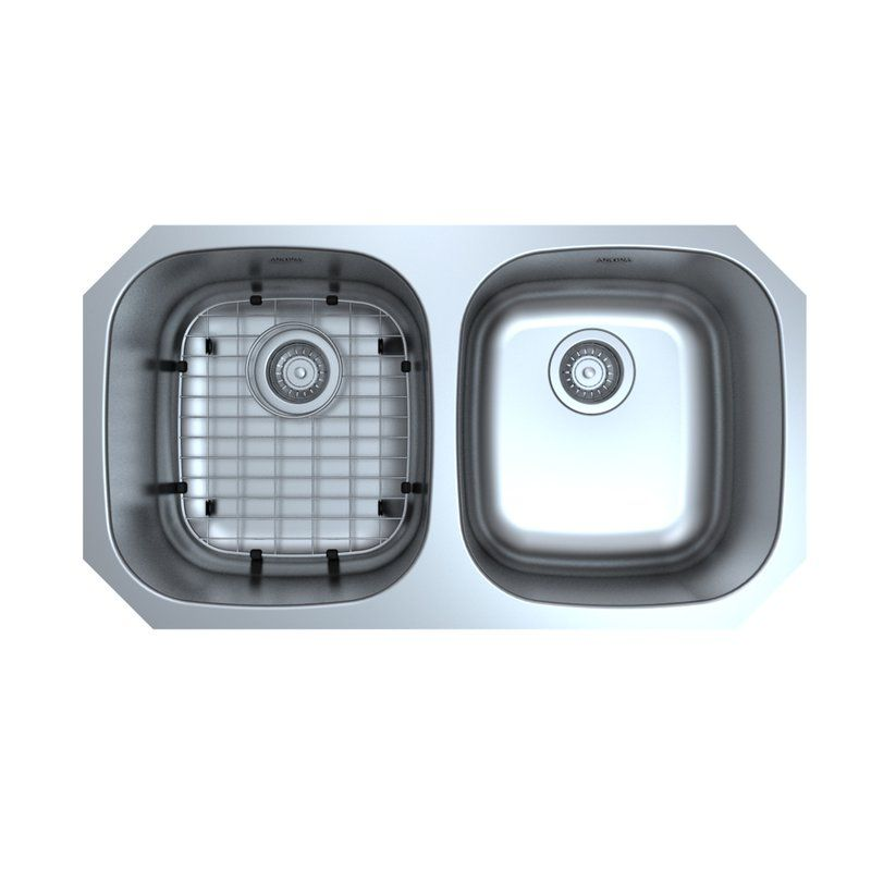 Capri Series Stainless Steel 32 3 X 23 Double Bowl Undermount Kitchen Sink With Grid And Strainers