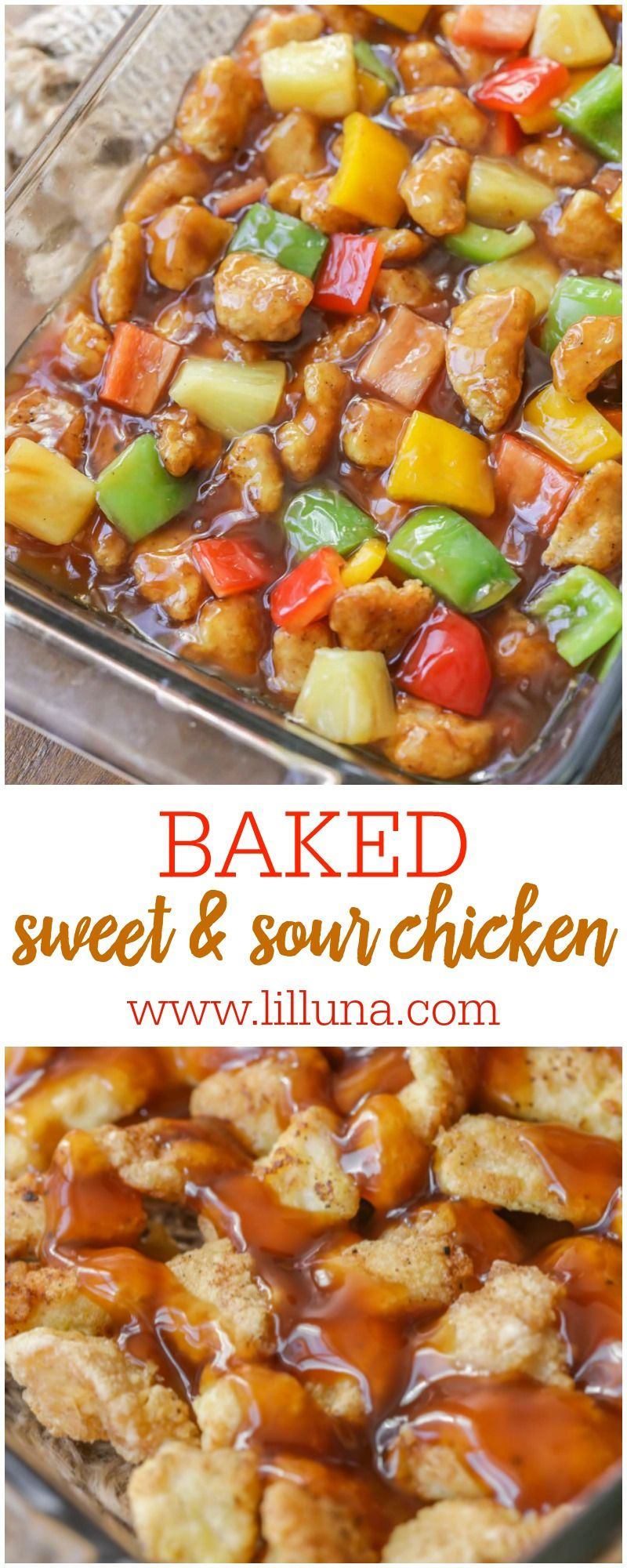 Baked Sweet and Sour Chicken is one of our family's favorite Asian recipes! There is so much flavor with the sauce, pineapples and peppers. Just with rice or noodles to complete this flavorful dish!