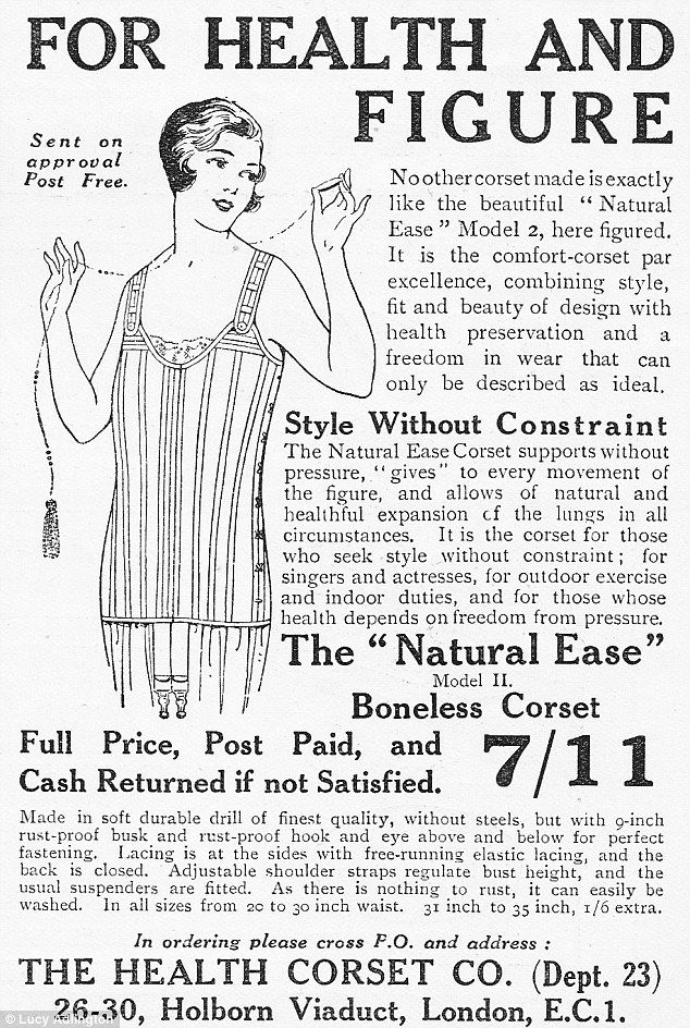 efc156588b A 1927 corset is advertised which aims to flatten the figure completely for  a boyish silhouette