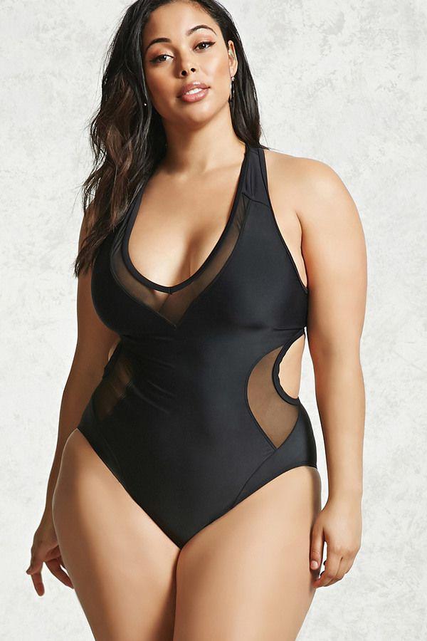 826557861a FOREVER 21+ Plus Size One-Piece Swimsuit  plussizefashion  plussizewimwear