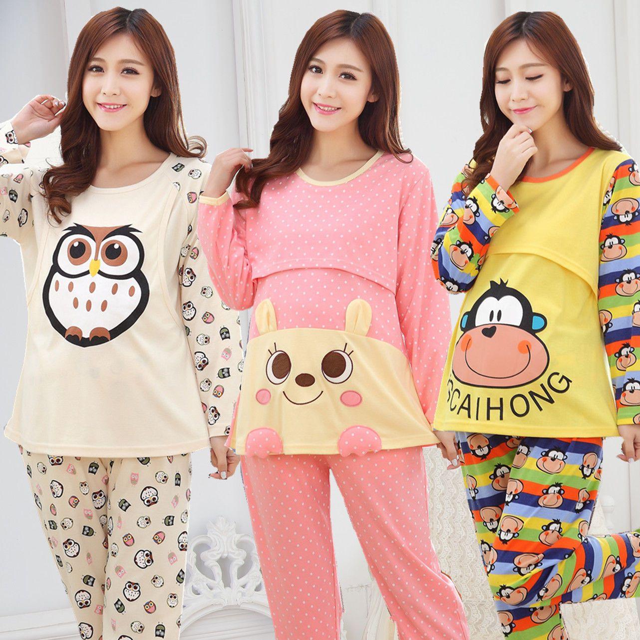 e174780c8b71f New Cute Autumn Winter Pregnant Women Sleepwear Cotton Maternity Nursing  Pajama | eBay