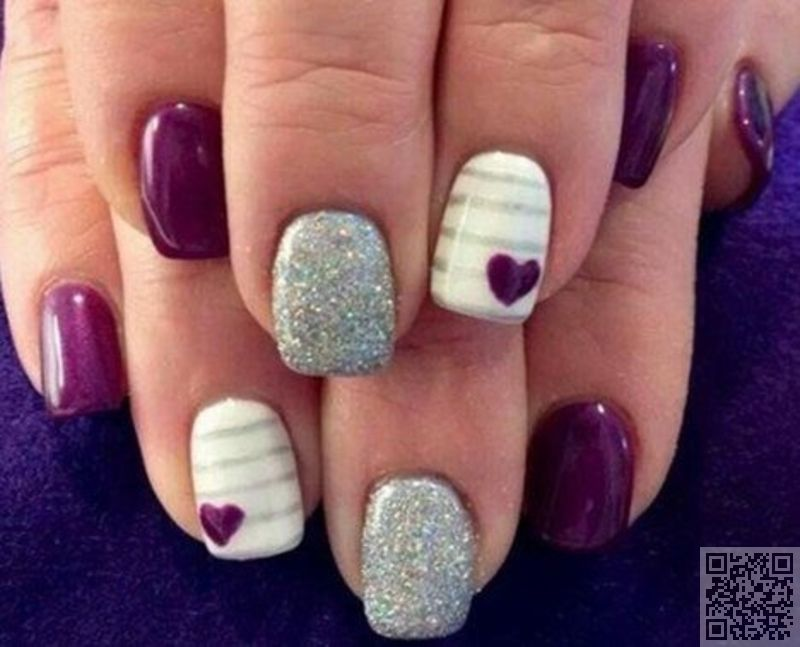 #Purple with Hearts - Got #Short Nails? Here Are the Nail Art #Designs  You'll Love ... → #Nails #Classy - 4. #Purple With Hearts - Got #Short Nails? Here Are The Nail Art