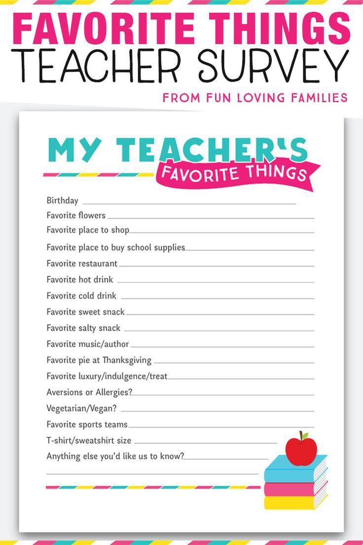 Teacher Favorite Things: Printable Questionnaire for Teacher Gifts | Teacher favorite things ...