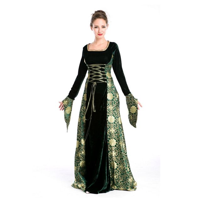Women Medieval Renaissance Gothic Long Dress Halloween Costumes Gypsy  Church Notre Dame Cosplay Dress 87565d3bd5c9