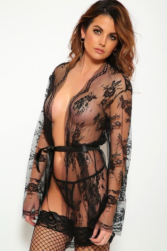 813a10da4 Sexy Black Lace 3 Piece Robe Thong Lingerie Set in 2019