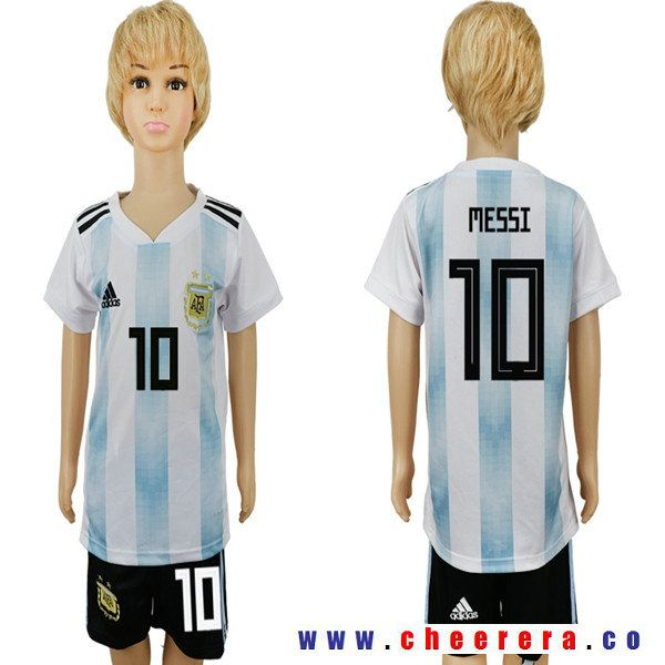 66ce71145 Youth Argentina Home  10 MESSI White Blue Short Sleeves 2018 World Cup  Soccer jerseys Uniform