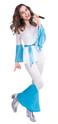 Blue with Lace Up Jumpsuit NEW 1970/'s Dancing Dream Costume