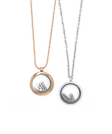Rose Gold & Silver Mommy & Me Floating Locket Necklace Set #zulily #zulilyfinds