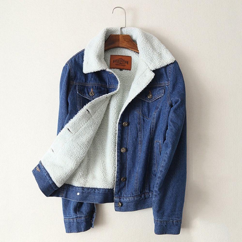 Women Lambswool Jean Coat With 4 Pockets Long Sleeves Warm Jeans Coat Outwear Wide Denim Jacket Fur Lined Denim Jacket Lined Denim Jacket Denim Jacket With Fur [ 1000 x 1000 Pixel ]