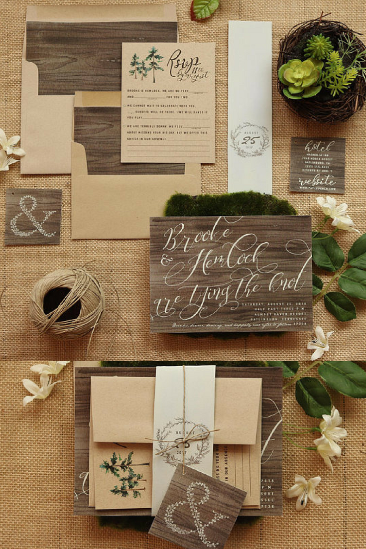 These Rustic Wedding Invitations Are In Shades Of Burlap And Wood With Calligraphy Inspired Free