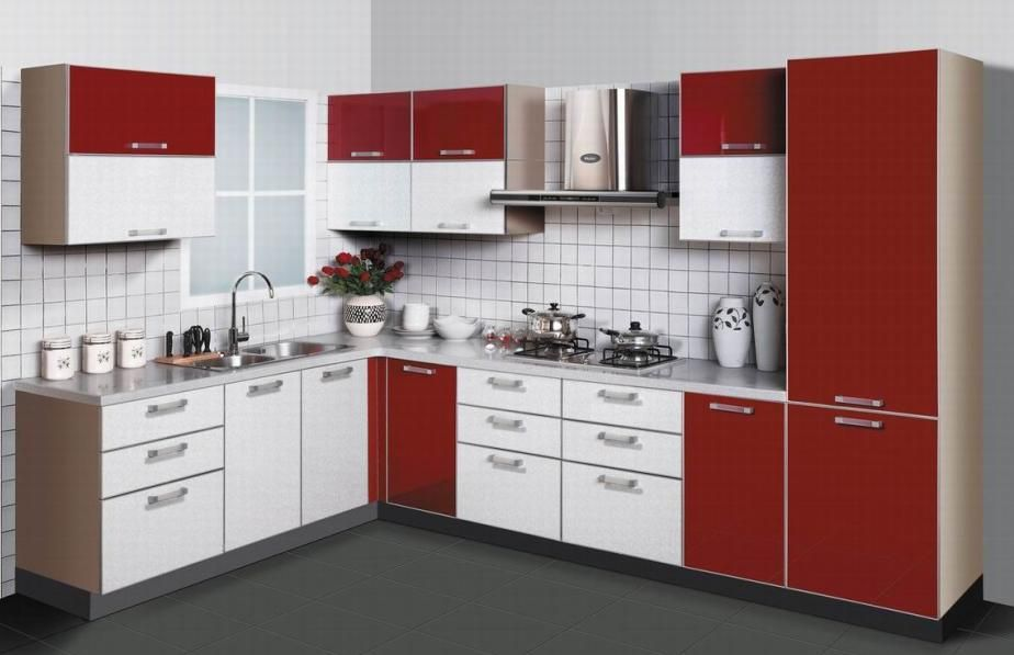 Gorgeous Red And White Kitchen Cabinets