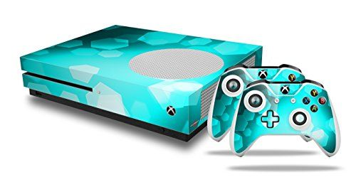 Bokeh Hex Neon Teal Decal Style Skin Set Fits Xbox One S Console