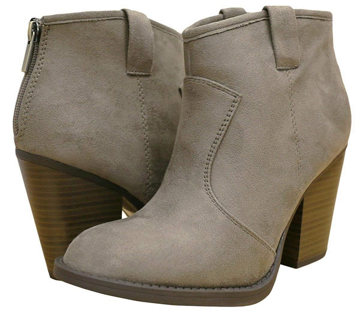 Women's Western Country Stacked Chunky Heel Ankle Bootie