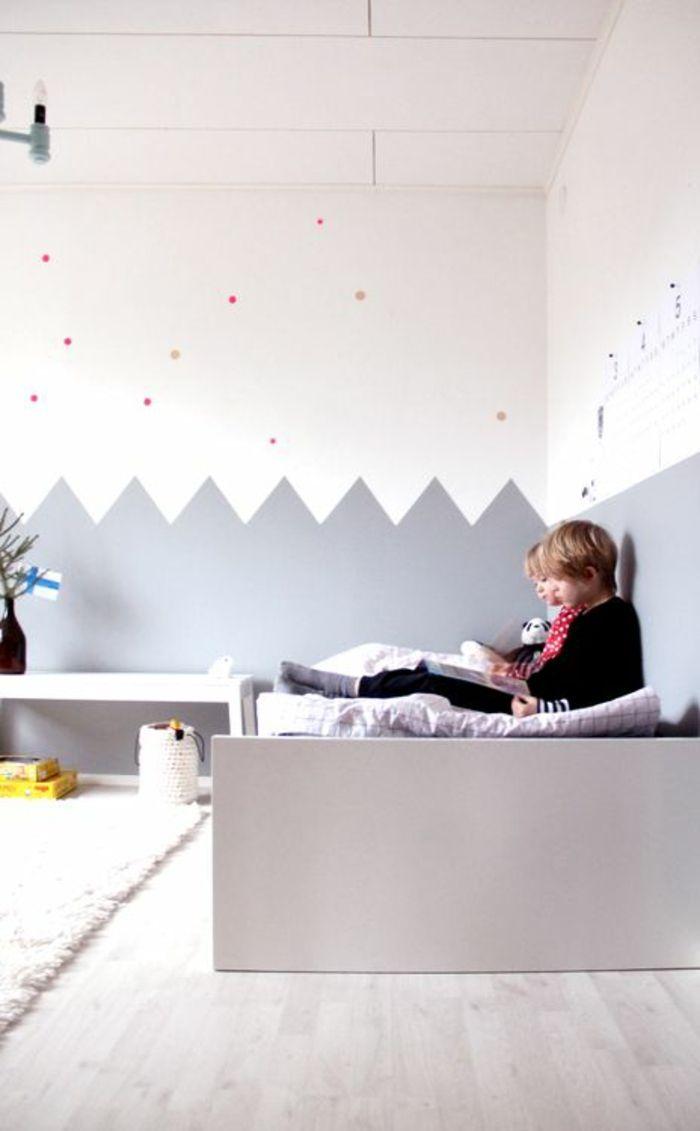 Wunderbar Kinderzimmer Wandfarbe Kinderzimmer Gestalten Babybett Wandgestaltung Grau  Weiß