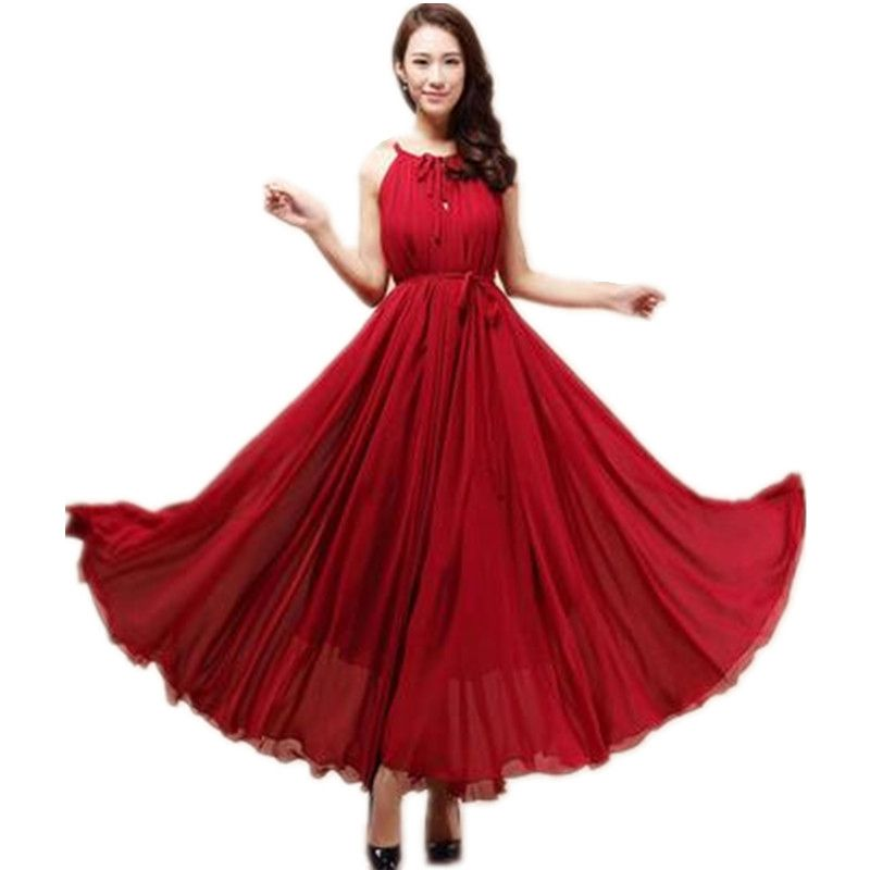 LIVA GIRL 2017 Summer New Woman Bohemia Pure Color Hammock Dress Temperament Elegant Chiffon Sandbeach Free Size Dress A013
