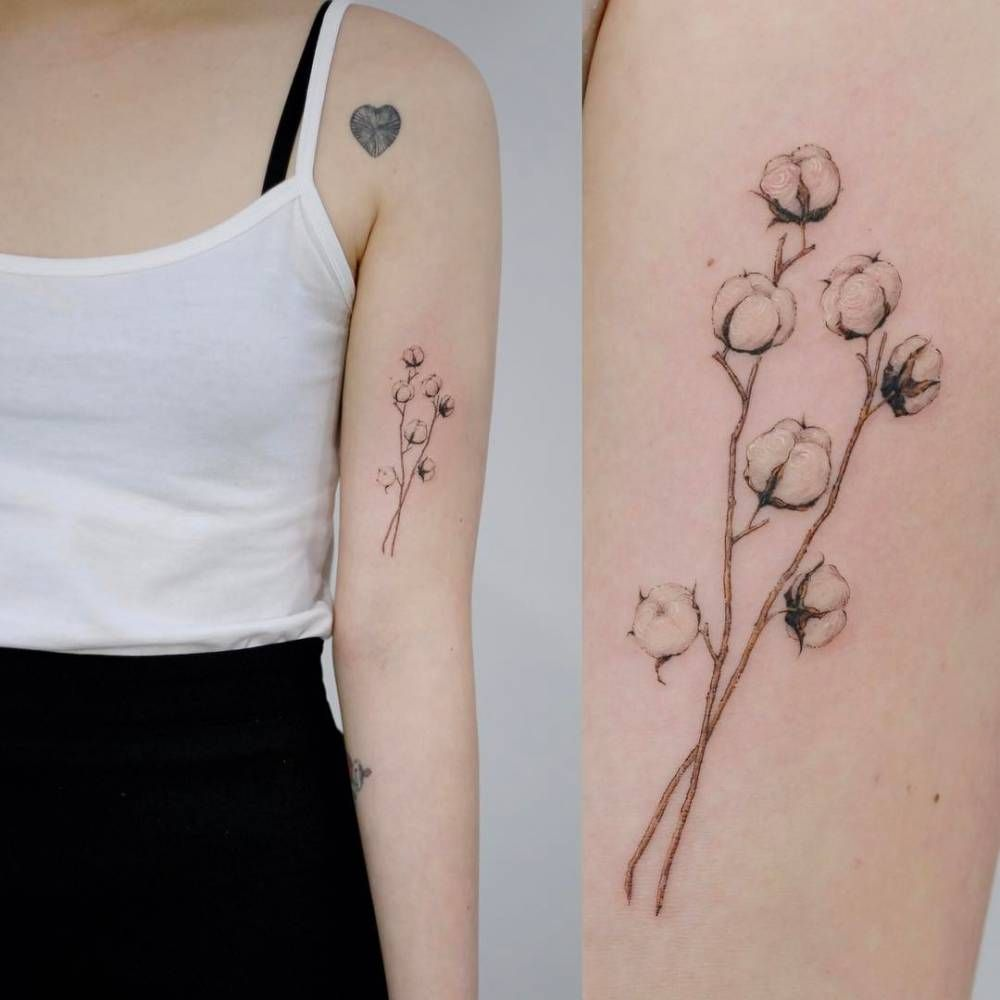 Cotton Plant Tattoo On The Left Bicep Fine Line Tattoos Tattoos
