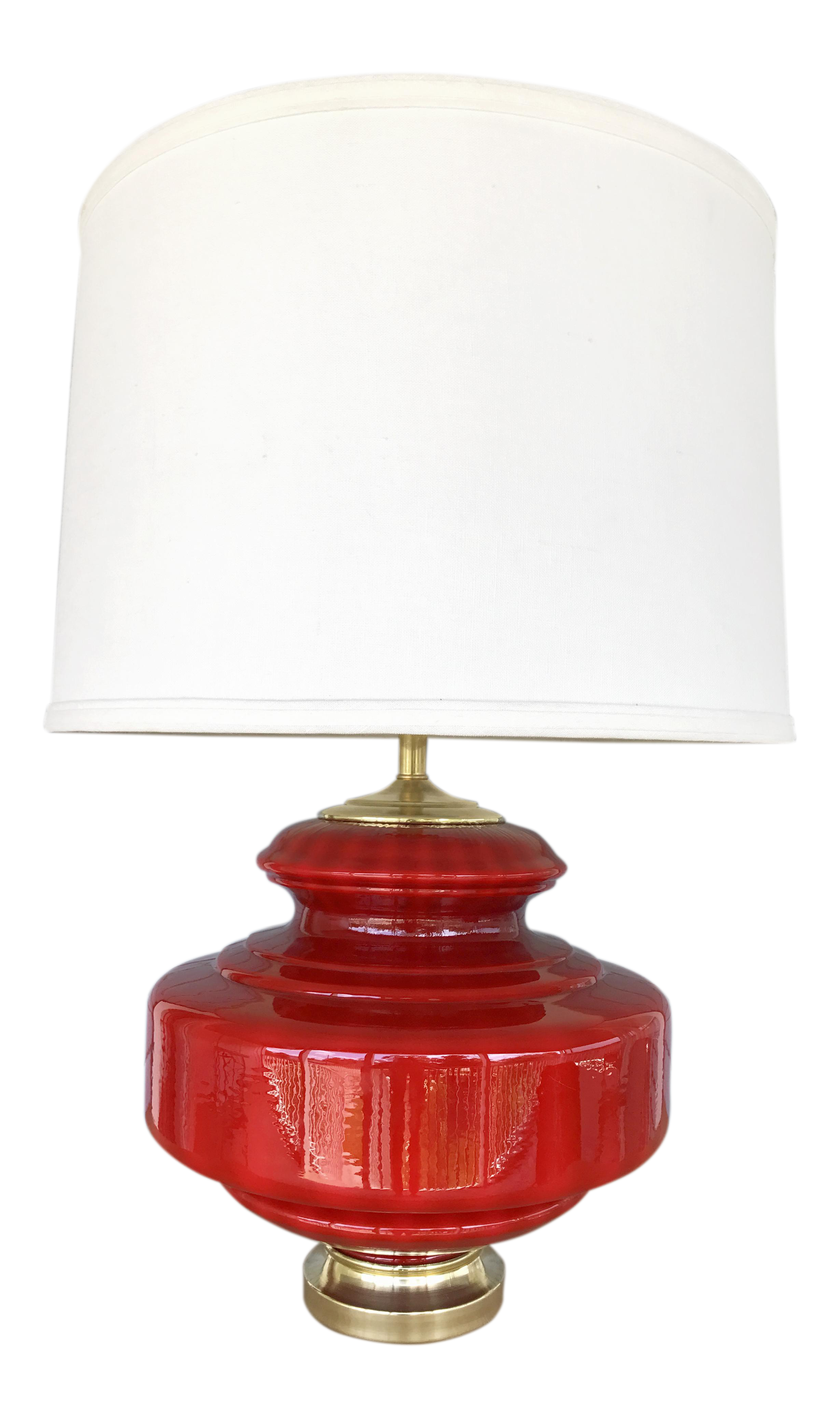Vintage Lipstick Red Glass Table Lamp On Chairish Com Apartment