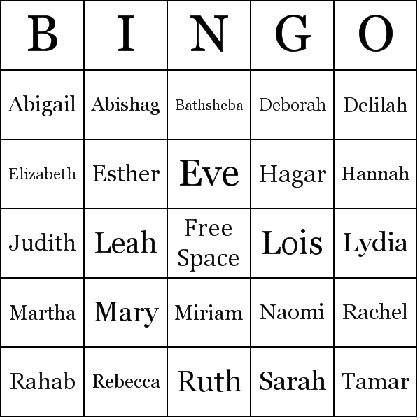 women of the bible activities | Women of the Bible Bingo Cards ...