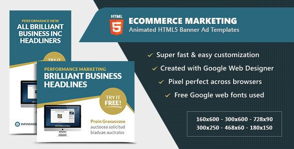 Awesome ECommerce Advertising Banners Animated HTML GWD Ad - Google web designer templates