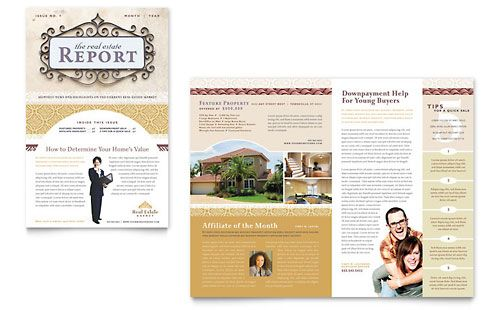 Luxury Real Estate Newsletter Microsoft Publisher Template Design