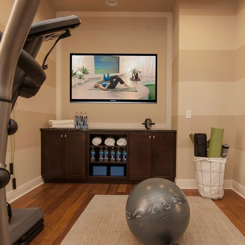 Home gym design ideas could put a small refrigerator for Small exercise room