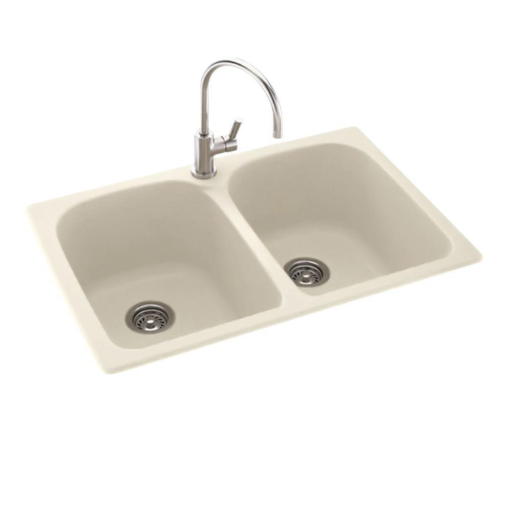 Swan Drop In Undermount Solid Surface 33 In 1 Hole 50 50 Double