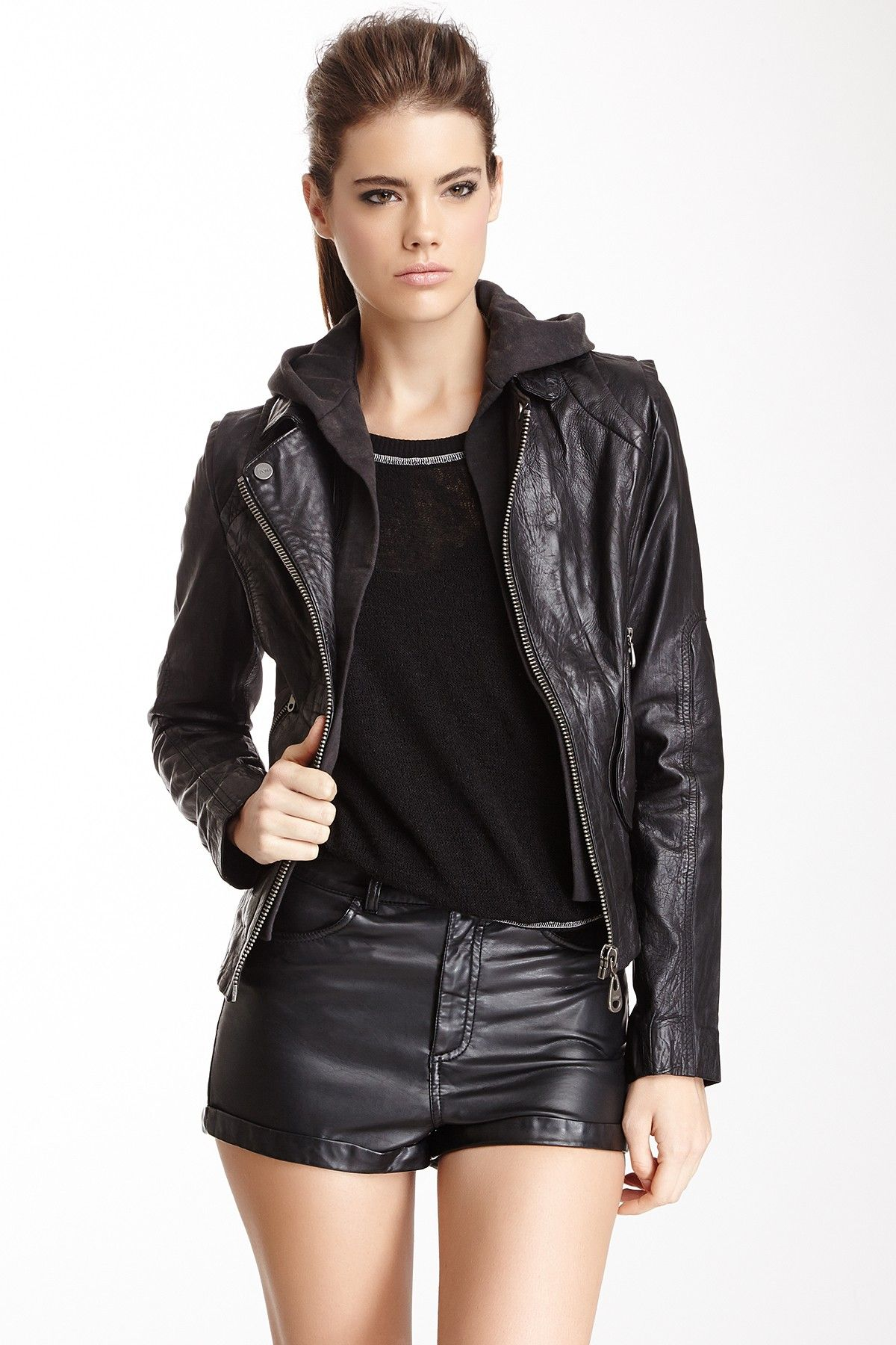Hooded Leather Jacket Jacket ZipclosureWomen Outerwear