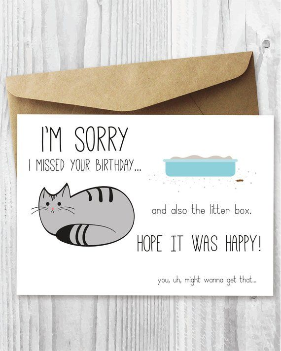 Belated Birthday Card Funny Digital Cat Printable Late