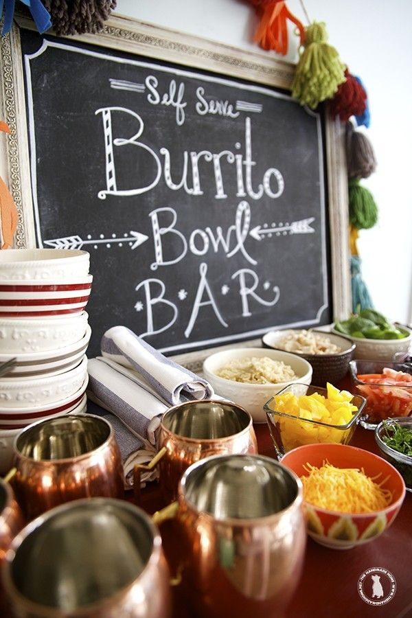 Easy burrito bowl bar a great idea for parties baxter for Food bar ideas for a party