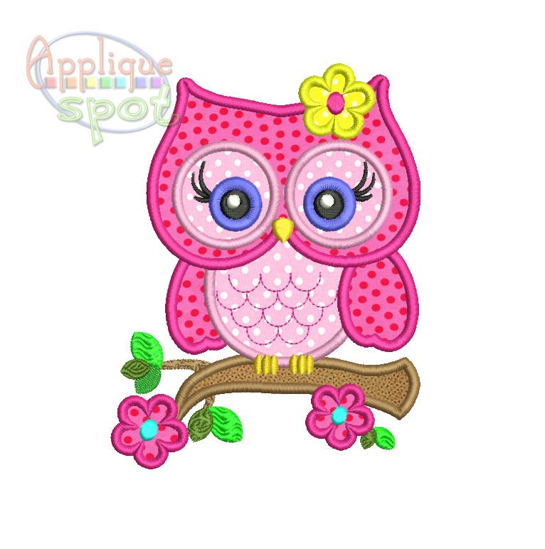 Cute Girly Owl | machine embroidery | Machine applique