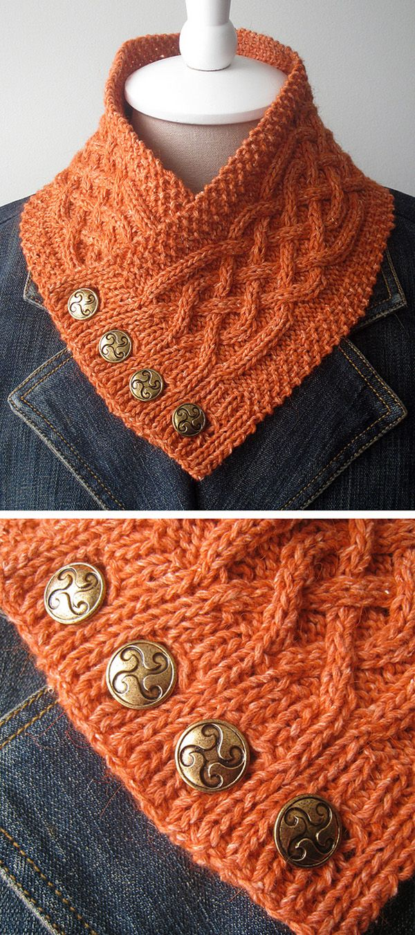 Celtic Cable Neckwarmer - Free Pattern #crochetscarves