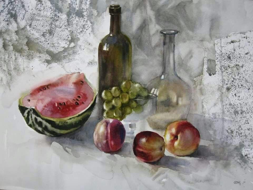 Alexander Karpmann Nature Morte Watercolor Paintings Painting