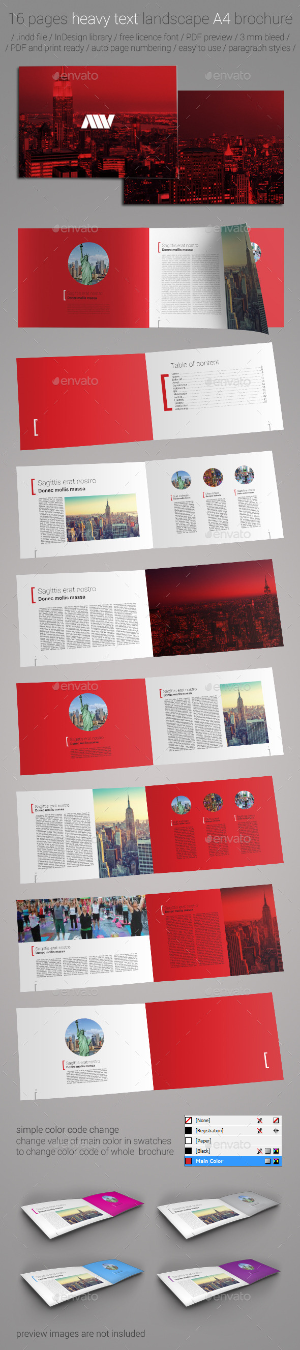 16 Pages A4 Landscape Brochure Template