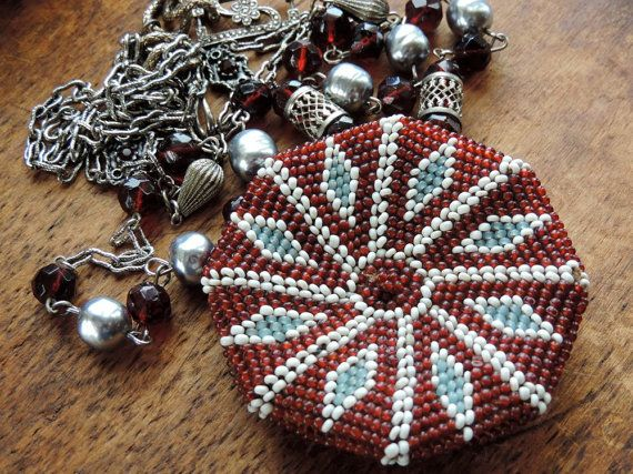 Antique Victorian Beaded Coin Purse Necklace by WhatOnceWas