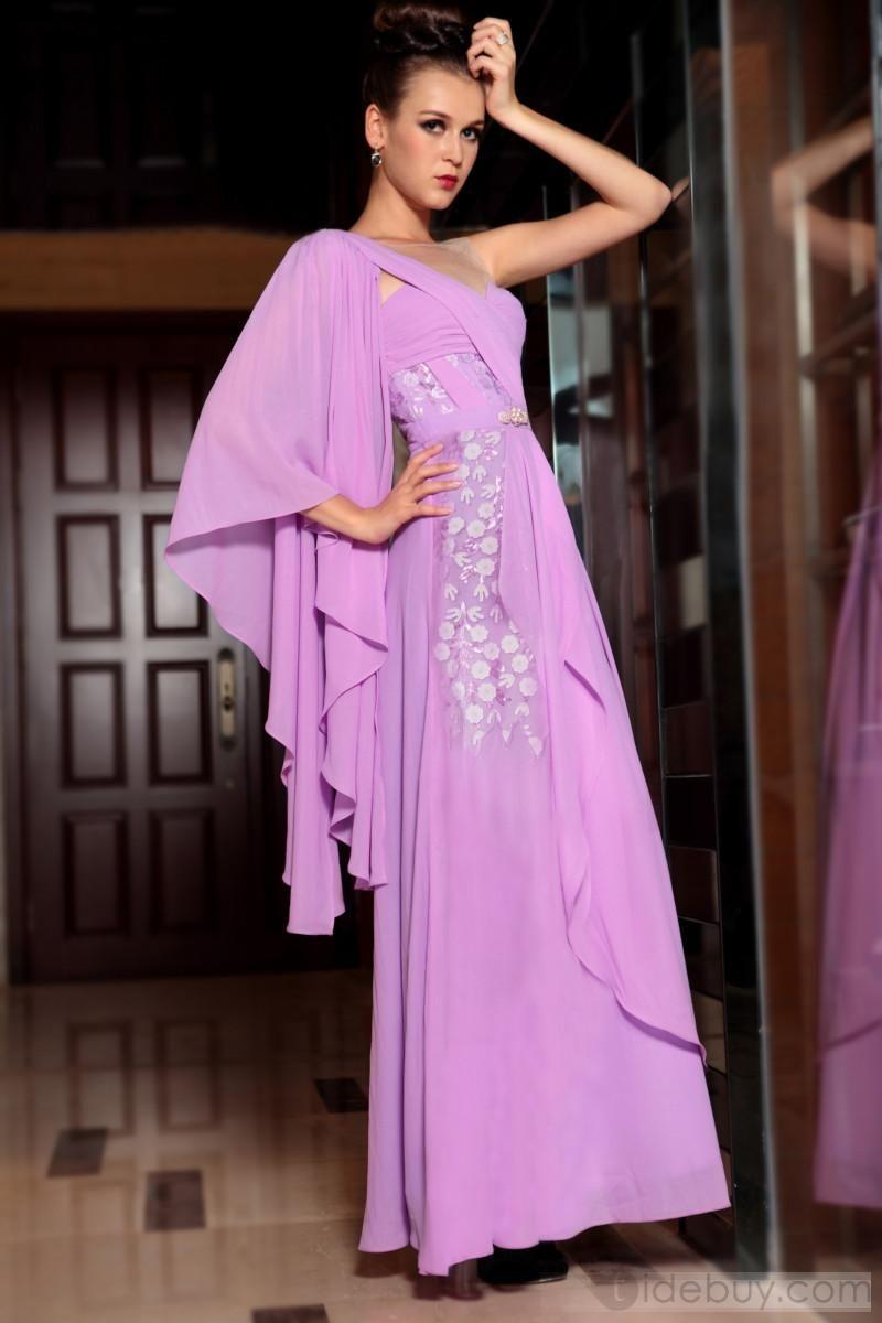 Encatador Vestido de Noche Prom de Un hombro Púrpura y Largo al Piso ...