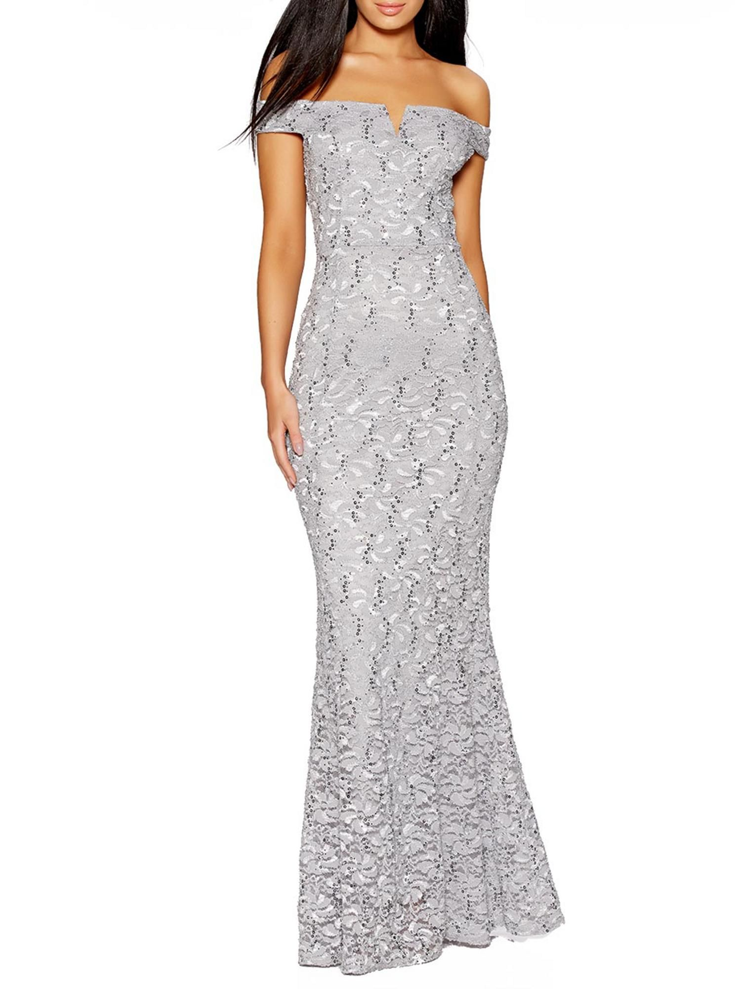 Buy your Quiz Silver Grey Sequin Bardot Fishtail Dress online now at ...