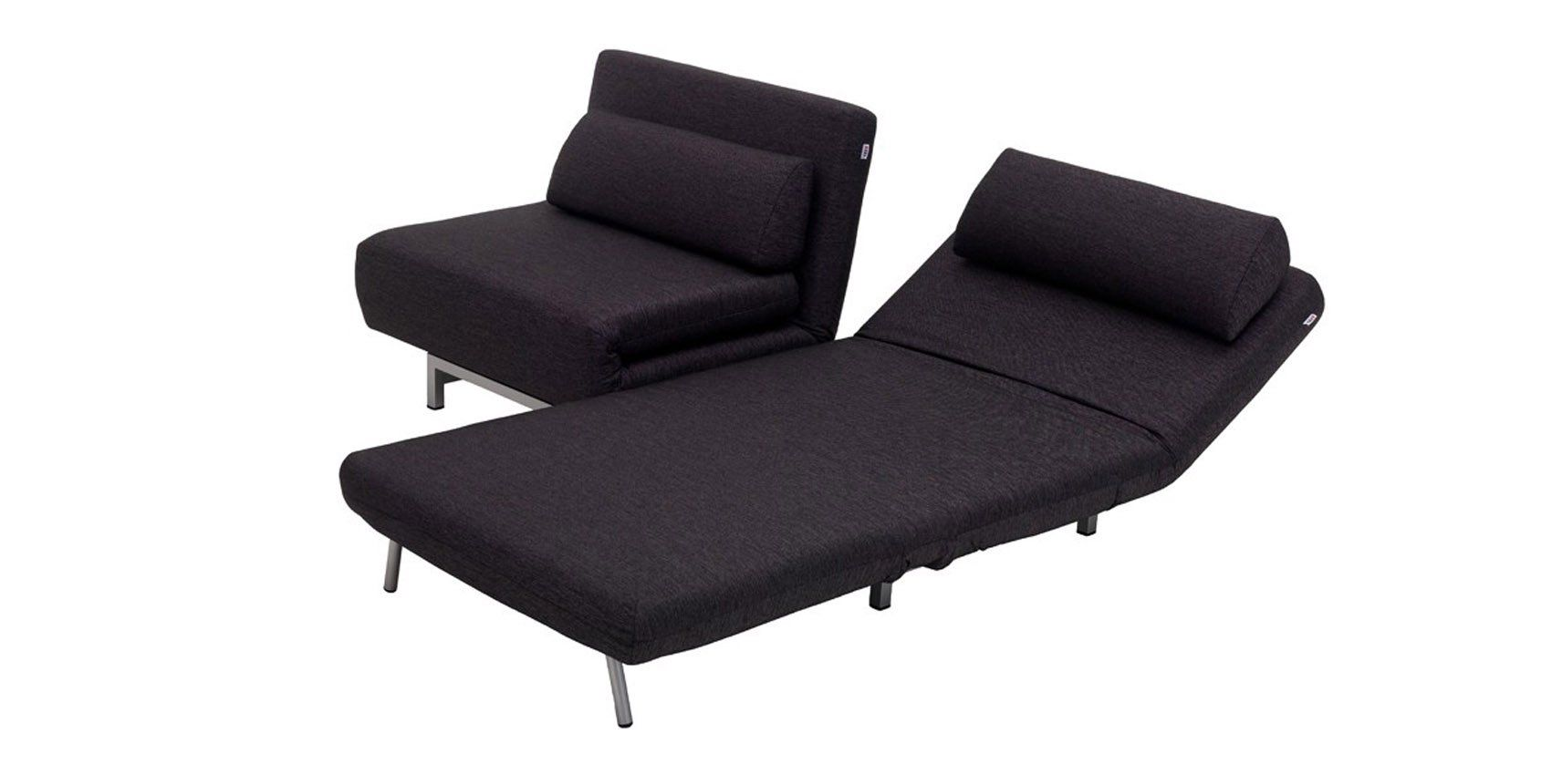 Modern Convertible Sofa Bed Chairs in Black Fabric 2 Seat Design by ...