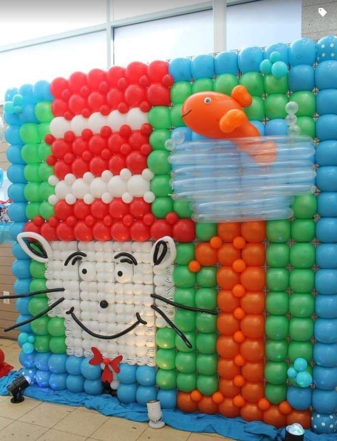 Dr seuss cat in the hat Birthday Party Ideas Balloon backdrop