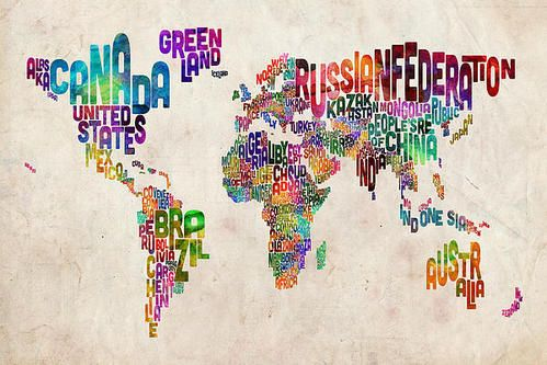 Text Map Of The World Poster By Michael Tompsett World Map Art Map Art Canvas Prints