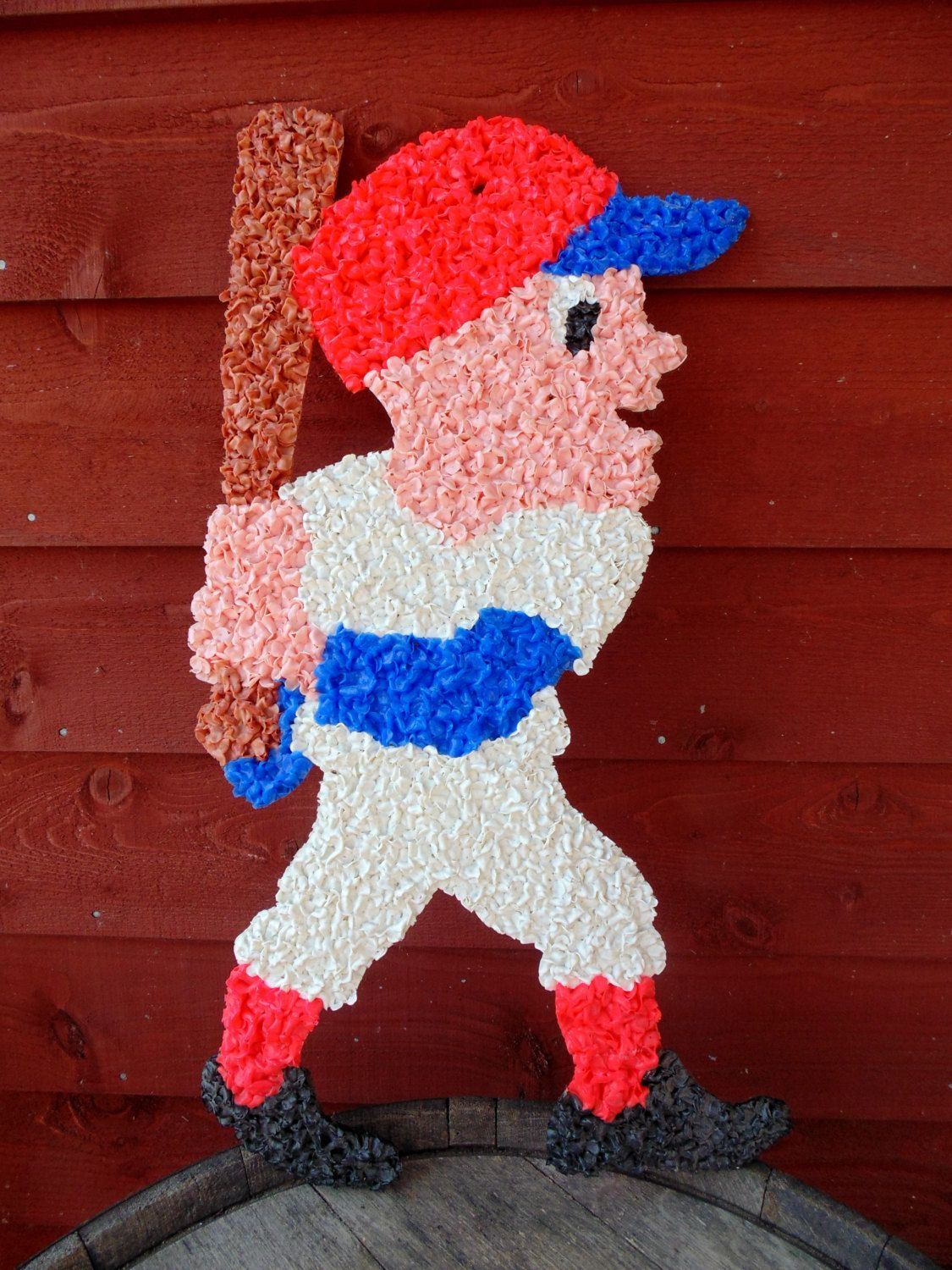 Baseball softball melted plastic popcorn sports bar wall baseball softball melted plastic popcorn sports bar wall decoration made in usa 23 inches vintage 1970s amipublicfo Images