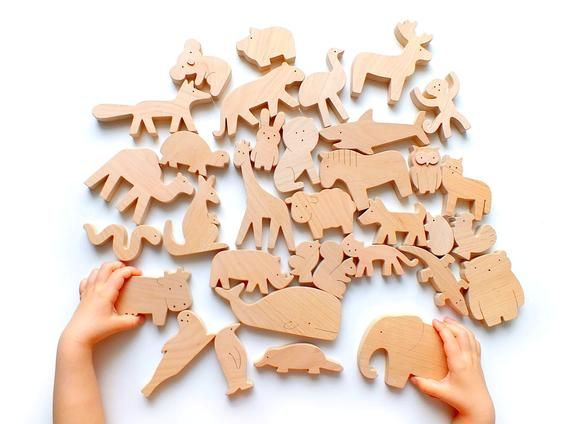 Photo of Conjunto de 35 o 40 animales de madera – animales apilados de madera – juguetes educativos de madera Waldorf