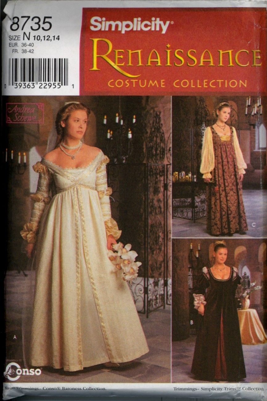 Italian Renaissance Dress Sewing Pattern Size 10 12 14 New
