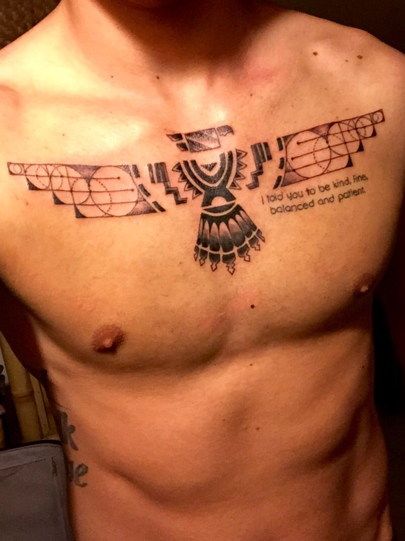 Men Minimalist Chest Tattoo: Thunderbird Minimalistic Chest Tattoo For Men. It Hurt A