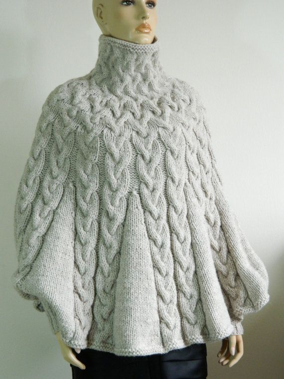 Hand Knit Turtleneck Poncho with sleeves from Alpaca blend yarn ...
