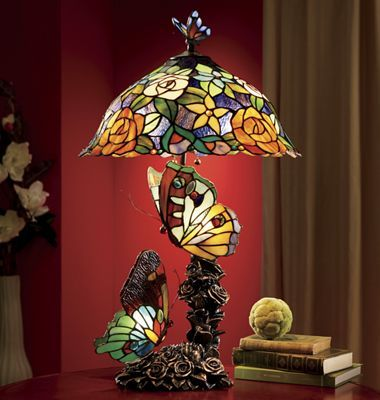 Table Lamps   Pieced Stained Glass Butterflies Dance Around Light And  Flowers On A Magical, Translucent Lamp.