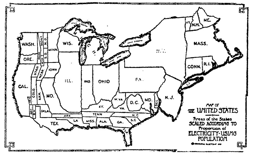 US Early Cartogram Map Scaled According To Proportion Of - Us map scaled to population