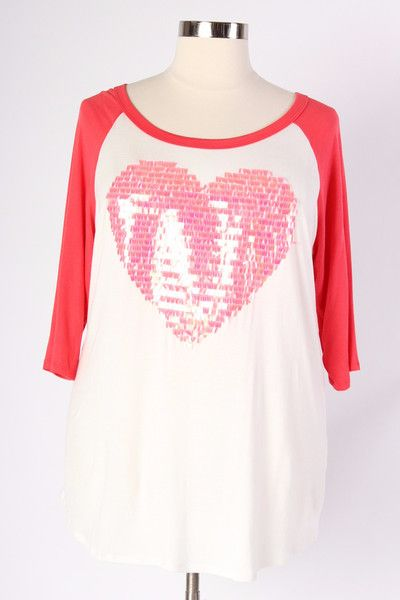 Plus Size Clothing for Women - Coral Sequin Heart Top (Sizes 16 - 22) - Society+ - Society Plus - Buy Online Now!